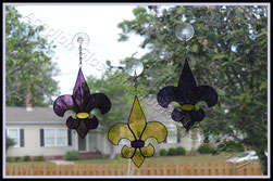 Purple and Gold (LSU) Art Glass Fleur de Lis Suncatchers