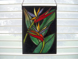 bird of paradise stained glass panel suncatcher tiffany