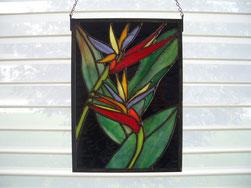bird of paradise stained glass panel suncatcher tiffany
