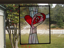 Heart Cross stained glass panel