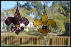 Purple and Gold Fleur de Lis Suncatchers