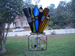 stained glass artist tools paint brush pencil suncatcher