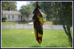 AGA Original Art Glass Feather Suncatcher ©Acadian Glass Art LLC 2016. All Rights Reserved.