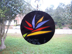 stained glass bird of paradise suncatcher