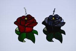 Red Rose and Black Rose Suncatchers
