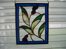 Olive branch stained glass panel suncatcher