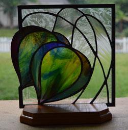Art Deco Tulip Art Glass Panel