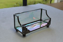 stained glass business card holder tiffany style Iridescnt Clear waterglass water glass