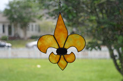 Art Glass Black and Gold Fleur de Lis Suncatcher ©Acadian Glass Art LLC 2016. All Rights Reserved.