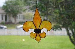 Art Glass Black and Gold Fleur de Lis Suncatcher ©Acadian Glass Art LLC. All Rights Reserved.