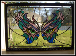 Stained glass mardi gras butterfly mask stained glass panel