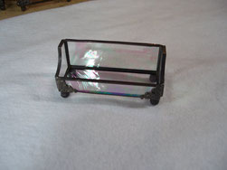 stained glass business card holder tiffany style iridescent clear  baroque glass