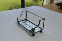 stained glass business card holder tiffany style clear baroque glass