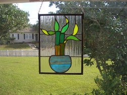 Lucky Bamboo Stained Glass Panel