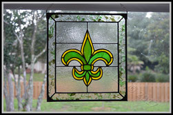 Commission Fleur de Lis Panel ©Acadian Glass Art LLC 2017. All Rights Reserved.