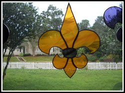 Black and Gold fleur de Lis Suncatcher ©Acadian Glass Art LLC 1998-2014. All Rights Reserved.