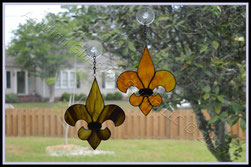 Black and Gold (Saints) Art Glass Fleur de Lis Suncatchers