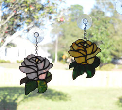Champagne Pink Rose and Mimosa Rose Suncatchers