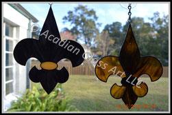 NOLA Saints Black and Gold Art Glass Suncatchers