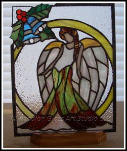 Art Glass Christmas Angel©Acadian Glass Art LLC. All Rights Reserved.