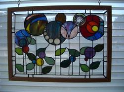 Flowers Art Glass Panel