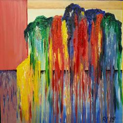 abstrakt, Acryl u. Öl / 50cm x 50 cm / Leinwand