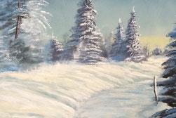 toile peinte paysage de neige Chartreuse