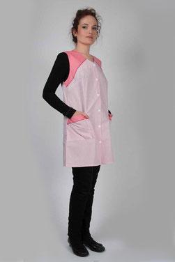 Blouse pro Chloé - rayé rose avec empiècements uni