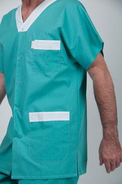blouse pro - tunique Homme vert uni à pressions