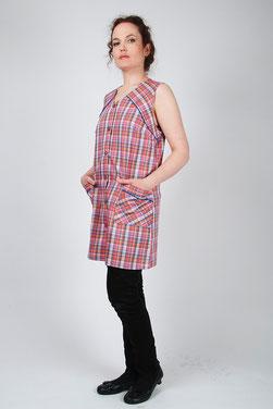 blouse écossaise 3/4 sans manches Malice