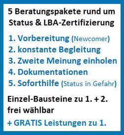 5 Beraterpakete rund um Status & LBA Zertifizierung