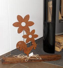 Deko-Objekt Blume und Hahn aus Edelstahl mit Rostpatina