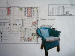 Collage Grundrissplan koloriert mit darüber gelegtem Foto eines türkisfarbenen Korbsessels