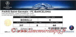 Ticket  PSG-Barcelone  2016-17