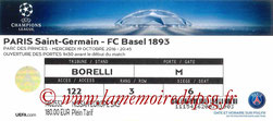 Ticket  PSG-FC Bâle  2016-17