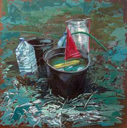 SABINE BEYERLE, AUSGUCK, 2020, Öl auf Leinwand, 40 x 30 cm, € 1.200,--