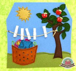 Spielbuch Teddys Haus Wäsche aufhängen Freebook