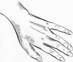 Постановочный рисунок руки выполнен тушью.