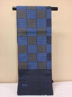 工芸帯地 木屋太の藍色市松柄しゃれ帯