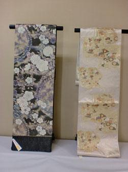 左は黒地に辻が花袋帯 98,000円 右は留袖にも訪問着にもあう特選袋帯  98,000円