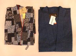 左女物作務衣 5,400円 右男物さ務衣久留米織 8,600円
