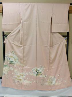 綸子生地ピンク色京友禅色留袖一つ紋仕立て上がり 130,000円
