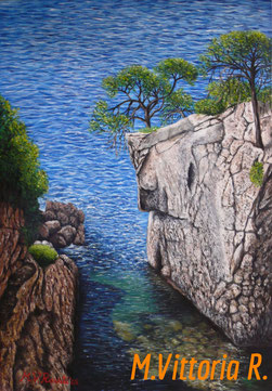 the cave of Viole in Puglia, oil painting on canvas, cm 35x50