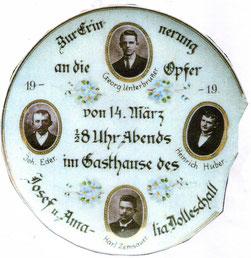 Erinnerungsteller an die Wildererschlacht 1919 im früheren Gasthaus Dolleschal in Molln