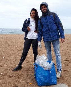 beach clean up barcelona rain