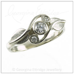 Twirling Leaves Trilogy Engagement Ring