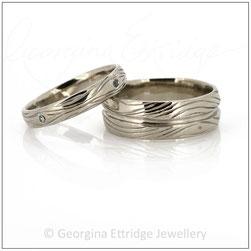 Woodgrain Wedding Band 18ct White Gold