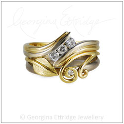 fitted wedding ring for an unusual shaped engagement ring