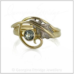Oak Leaf with Swirling Curled Tendril Ring - 18ct Yellow Gold Green Sapphire