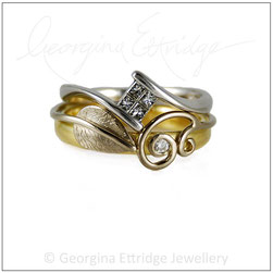 Leaf ring shaped to fit with another ring